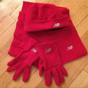 New Balance RED 3 pc Running Set Scarf Hat Gloves